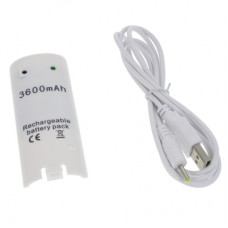 Batteria per Nintendo Wii Remote Controller, bianca, 3600 mAh