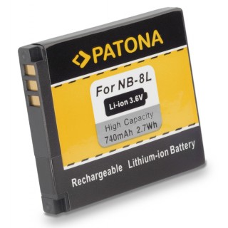 Batteria NB-8L per Canon PowerShot A2200 / A3000 IS / A3100 IS, 740 mAh