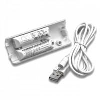 Batteria per Nintendo Wii Remote Controller, bianca, 400 mAh