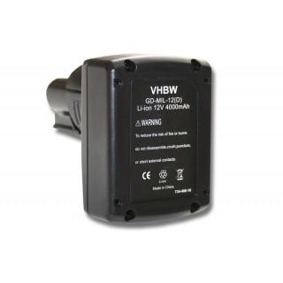 Batteria per AEG Milwaukee C12 B / C12 BX / M12, 12 V, 4.0 Ah