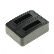 Caricabatterie per batteria Nikon EN-EL10 / Casio NP-80 / NP-82 / Fuji NP-45 / Kodak KLIC-7006 / Olympus LI-40B / Pentax D-Li63, MicroUSB, doppio