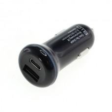 Alimentatore da auto per dispositivi con connettore USB-C / USB-A, doppio, 30W